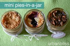 Mini Pies-in-a-Jar Recipe Cards: Mini Apple Crumb Pies, Mini Berry Pies, Mini Pecan Pies