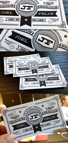 Joel Felix is a typographer and illustrator so it's no surprise that he designed his own business card with an intricate and detailed hand drawn image of his own making.