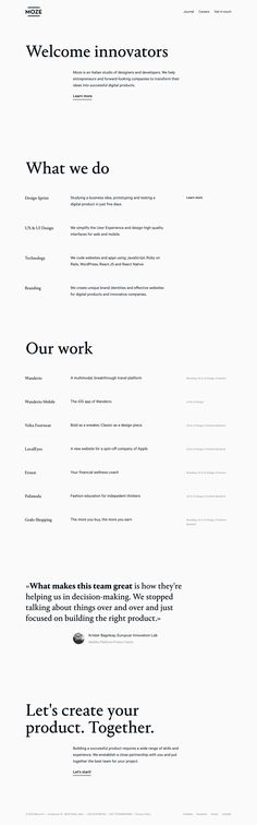 Good whitespace and clear typography in this minimal One Pager for Italian digital studio, Moze.