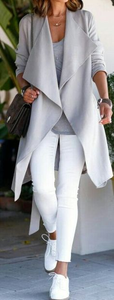 Street outfit idea 2015. Grey cardigan, white pants and sneakers. Top 10 fashion ideas for fall.