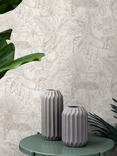 This gorgeous Sumatran Wallpaper will make a unique focal point in your home. The stylish design features tropical plants and foliage as well as exotic monkeys, lemurs, toucans and tigers all in a beautiful sparkling soft metallic silver finish. This is set on a dove white background with a smooth matte finish for a stunning contrast. Easy to apply, this high quality wallpaper would look great as a feature wall, or equally as good when used to decorate a whole room. Tropical Wallpaper, Pattern Matching, Paper Wallpaper, High Quality Wallpapers, Tropical Plants, Exotic Pets, Pet Birds, Lemurs, Sparkle