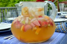 White Sangria With Apples, Oranges, and Strawberries