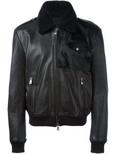 VERSUS shearling collar leather jacket. #versus #cloth #jacket