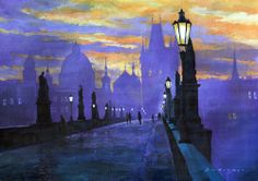 Prague Charles Bridge Sunrise Painting by Yuriy Shevchuk - Prague Charles Bridge Sunrise Fine Art Prints and Posters for Sale Bridge Painting, Sunrise Painting, Canvas Art, Canvas Prints, Art Prints, Framed Prints, Prague Charles Bridge, Pont Charles, Street Painting