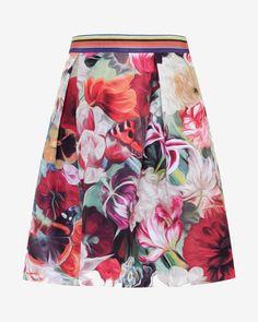Buy Ted Baker Kaideen Floral Swirl Skirt, Fuchsia from our Women's Skirts range at John Lewis & Partners. Ted Baker Skirts, Stripe Skirt, Pleated Skirt, Midi Skirt, Calf Length Skirts, Spring Skirts, Floral Print Skirt, Skirt Fashion, Floral Fashion