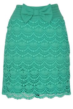 Bow Front Crochet Lace Pencil Skirt in Jade