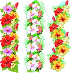 Garland of Hibiscus Flowers Hawaiian Flowers, Hibiscus Flowers, Art Floral, Retro Vector, Vector Free, Eps Vector, Tiare Tahiti, Vector Border, Moana Birthday Party