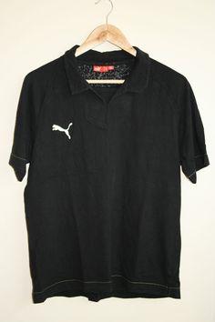 Original Puma Polo Shirt Size L Blue Fashion Designer 100% Cotton Black Passion