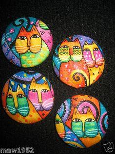 "Laurel Burch fabric buttons 1-1/2"""