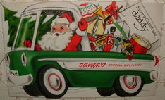 Santa driving a green truck full of presents vintage Christmas card image