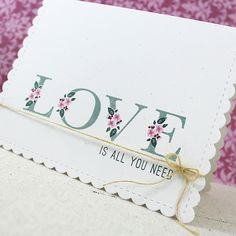 PTI Supplies: Botanical Letters Stamp Set, Wonderful Words: Love Mini Stamp Set; Rustic White Cardstock; Ocean Tides Ink, Pinefeather Ink, Lovely Lady Ink, Autumn Rose Ink, Scarlet Jewel Ink; Noted: Scalloped A2 Die Collection; Rustic Jute Button Twine; Glossy Accents