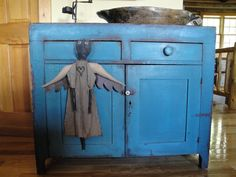 Primitive Cloth Doll Black Angel Blue by kittredgemercantile, $48.95