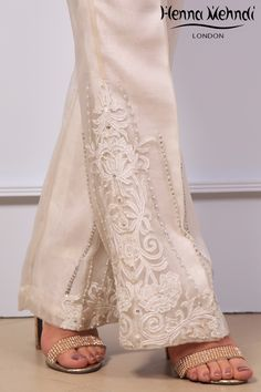 White organza trousers with diamanté embroidery. Please note these are trousers only. Please note delivery time is approximately weeks. There is no exchange Stylish Dresses For Girls, Casual Dresses, Fashion Pants, Fashion Dresses, Salwar Designs, Moda Vintage, Desi Clothes, Pants For Women, Clothes For Women