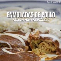 Aprende cómo preparar desde cero las tradicionales y muy representativas de la cocina mexicana enmo Raw Food Recipes, Mexican Food Recipes, Chicken Recipes, Snack Recipes, Cooking Recipes, Mole Enchiladas Recipe, Mole Recipe, Authentic Mexican Recipes, Food Porn