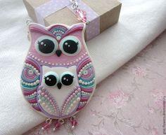 Купить Сова и совёнок -- подвеска - бледно-розовый, розовый, белый, бело-розовый, сова