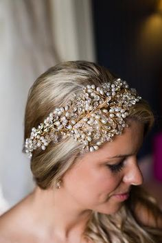 Kimberley wearing Hermione Harbutt Leafy Glamour Headdress | Blonde Hair Inspiration | http://www.hermioneharbutt.com/wedding/hair_accessories/buy.php?Product=227&Title=Leafy+Glamour+Headdress