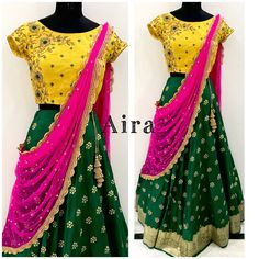Swipe right.for price details contact 9885849880 Kids Lehenga Choli, Half Saree Lehenga, Lehnga Dress, Chaniya Choli For Kids, Lehanga For Kids, Kids Blouse Designs, Bridal Blouse Designs, Saree Blouse Designs, Half Saree Designs