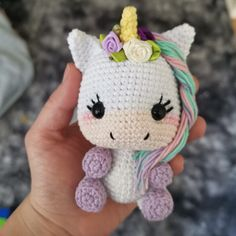 instructions to doll patterns patrn unicornio 12 cms aproximadamente Crochet Animal Patterns, Crochet Patterns Amigurumi, Stuffed Animal Patterns, Crochet Dolls, Crochet Unicorn Pattern Free, Doll Patterns, Cute Crochet, Crochet Crafts, Crochet Baby