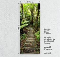 Puerta abrigo etiquetas engomadas bosque camino por MadeForHomePL