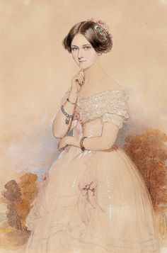 Painting of Princess Carola of Vasa two years before her marriage, 1851