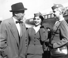 Betty Lou Ruble [r] with Humphrey Bogart. Many famous actors preferred to fly on Pan Am long before the jet age.