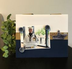 """U.S Navy Version 2 Military Officer graduation memorial grandfather grandson son fathers day hero gift Magnetic picture frame holds 5"""" x 7"""" photo 9"""" x 11"""" size"""