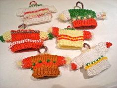 set/6Hand knitted Mini Sweater Ornaments/Set of by debbyware, $29.98