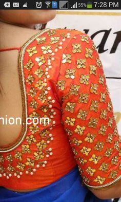 Gota stone pearl zardosi blouse on dupian silk to spice up any simple saree! Get this with a pure chiffon saree in your favourite color on www. Saree Blouse Patterns, Saree Blouse Designs, Sari Blouse, Saree Dress, Mirror Work Blouse, Choli Designs, Dress Designs, Sleeve Designs, Simple Sarees