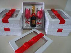 Caixa para champanhe e 2 taças