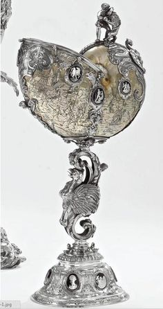 A German Silver and Enamel mounted Nautilus Shell Cup, probably Hanau, late 19th century