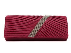 Fushia - Diamante  Wave Pleated Evening Clutch Bag via Bellíssima. Click on the image to see more!