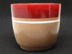 Hard Maple Bowl with a Red Pearl Resin Rim by colemancrafts