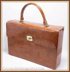 Vintage Box Purse/Briefcase with Umbrella Sleeve
