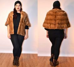 1950s sz large mink fur cape fur stole // USA MADE  #fauxyfurrvintage #recycledfurr