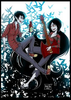 Adventure Time: Marceline and Marshall Lee by Kate-FoX.deviantart.com on @deviantART