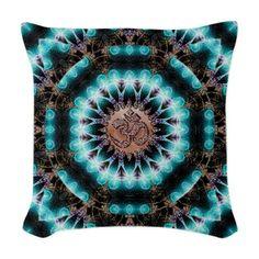 Om Shanti Fractals Woven Throw Pillow #cushions #yoga #om #sanskrit #symbol #homedecor