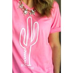 Cactus Home Neon Pink Vneck Tee by RoyalBowtiqueShop on Etsy