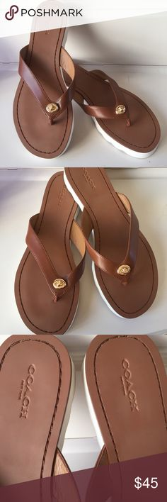 b2a18e4f2394 NEW Coach Turnlock Leather Thong Flip Flops 8.5 Brand New without tags Coach  Shelly Turnlock White