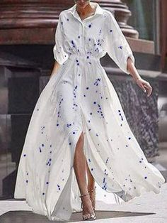 Print Waist Long Sleeved Shirt Single Maxi Dress Source by streetik dress outfits Maxi Robes, Chiffon Maxi Dress, Floral Maxi Dress, Print Maxi Dresses, Maxi Dress Outfits, Summer Maxi Dress Outfit, Maxi Dress With Sleeves, Dress Casual, Formal Dress