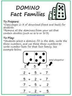REMINDER:  Remove all doubles. Dominoes are a great and entertaining way for students to practice making fact families.