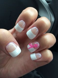 47+ Super Ideas Nails Pink And White Breast Cancer White Nails, Pink Nails, Nail Art Galleries, French Nails, Breast Cancer Awareness, Nail Designs, Ribbon, Nail Nail, My Style
