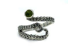 Octopus Ring, Tentacle ring – Handmade with Love - Eleni Pantagis Octopus Ring, Peridot Stone, Greek Jewelry, Evil Eye Jewelry, Mens Silver Rings, Ring Designs, Jewelry Design, Gemstones, Tentacle