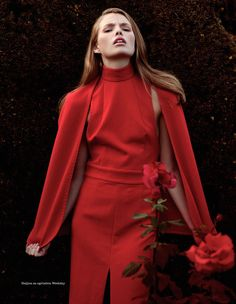 "Muted Red - and lovely. Elle Serbia November 2012, ""A Day In The Garden"""
