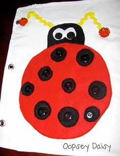 ladybug quiet book page. Used this idea but expanded on it when I made the airplane travel tray covers for the kids last summer.