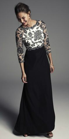 Elegant black and white 3/4 sleeve gown for the Mother-of-the-Bride