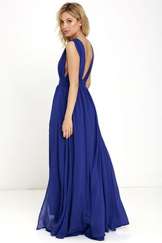Lulus Exclusive! You'll be goddess-like for the entire evening in the Heavenly Hues Royal Blue Maxi Dress! Georgette fabric drapes alongside a V-neck and back, and lays across a banded waist. Full maxi skirt has a sexy side slit. Hidden back zipper with clasp.