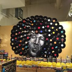 Back wall mural/Inside R & R Records /Jeffery H photo/ i want to go to this store! Vinyl Records Decor, Records Diy, Vinyl Record Crafts, Vinyl Art, 70s Party, Disco Party, Don Pollo, Vinyl Platten, Nightclub Design