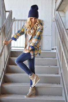 Head to toe Target-I want some wedge sneakers.weird I know, but how cute is this outfit! Wedges Outfit, Sneaker Wedge Outfit, Sneaker Wedges, Wedge Sneakers, Nike Outfits, Casual Outfits, Fashion Outfits, Fall Winter Outfits, Autumn Winter Fashion