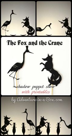 the fox and the crane: shadow puppets with printables - teach mama Puppet Show, Puppet Theatre, Fun Activities For Kids, Book Activities, Hand Shadows, Shadow Theatre, Shadow Play, Shadow Puppets, Doll Crafts