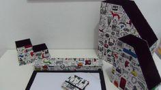 Kit em Cartonagem com Porta Revista Médio,Porta cd ou livro,Porta lápis e post-it